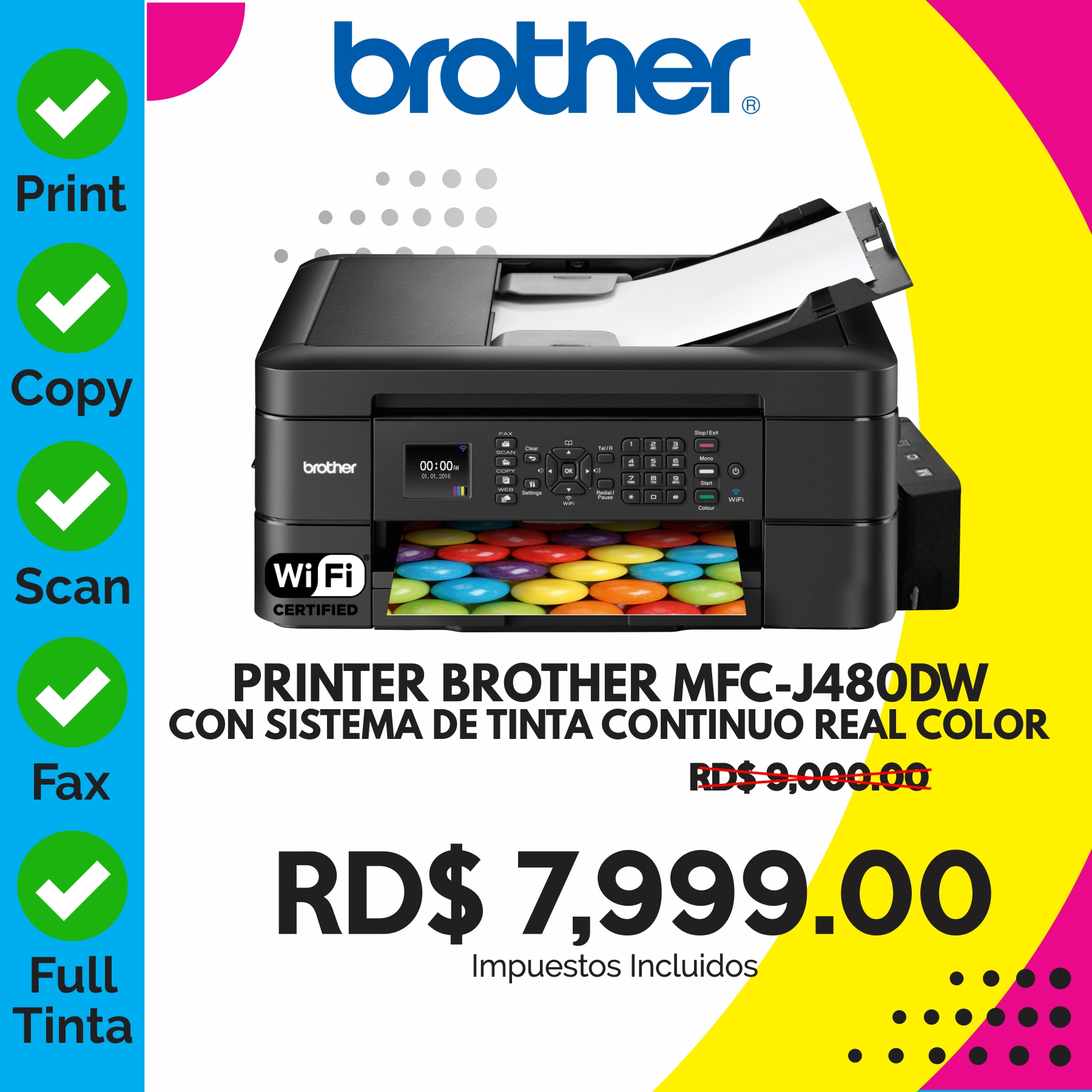 PRINTER BROTHER MFC-J480DW + SISTEMA TINTA REAL COLOR