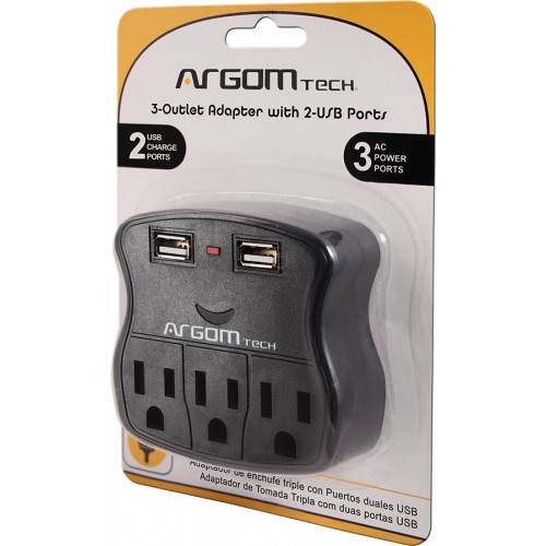 PROTECTOR ARGOM 3 OUTLET ADAPTER 2 USB 110V ARG-AC-0264